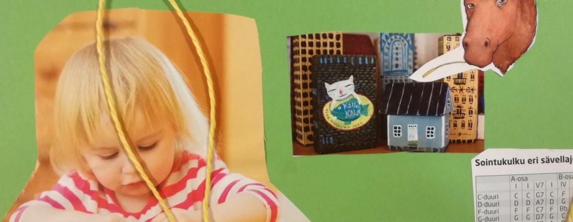 Opettajien visuaalisen työpajan tuotos. Lehtileikkeitä ja paperia liimattuna vihreälle pahville.