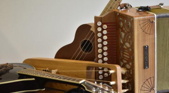 Mandoliini, jouhikko, ukulele ja 2-rivinen haitari samassa kuvassa