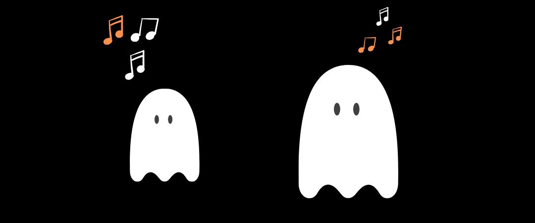 Kuvituskuva, kaksi kummitusta ja nuotteja