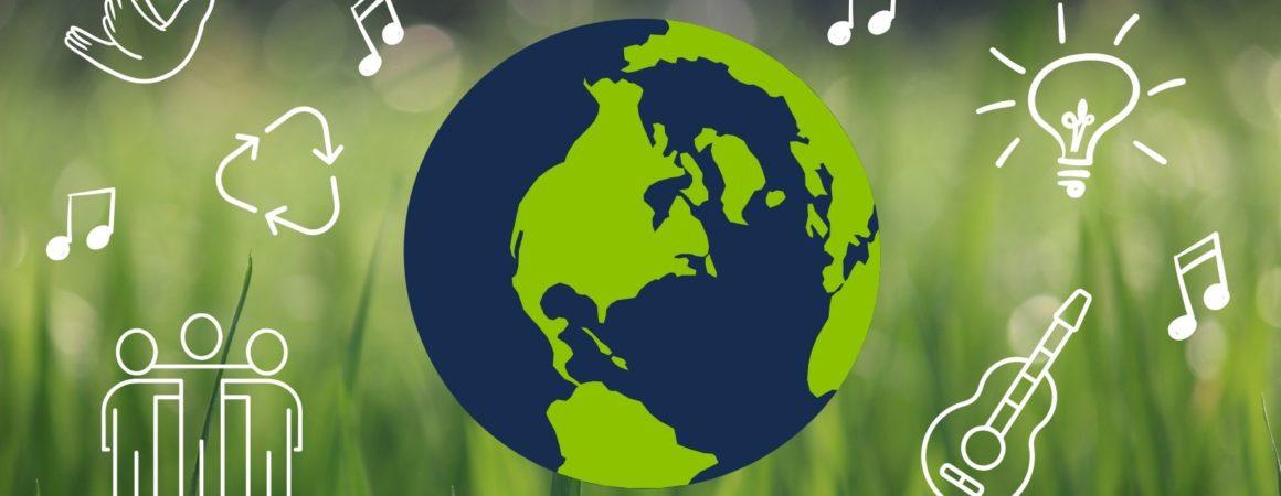 Kuvituskuva. Ruohoa kuvaavalla taustalla maapallo ja erilaisia kestävän kehityksen ja musiikin symboleja kuten kierrätysmerkki ja nuotteja.