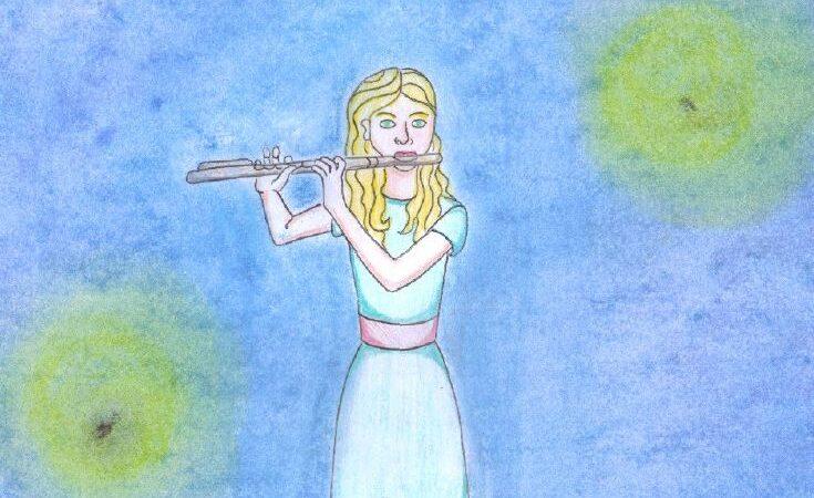 Piirroskuva huilua soittavasta tytöstä