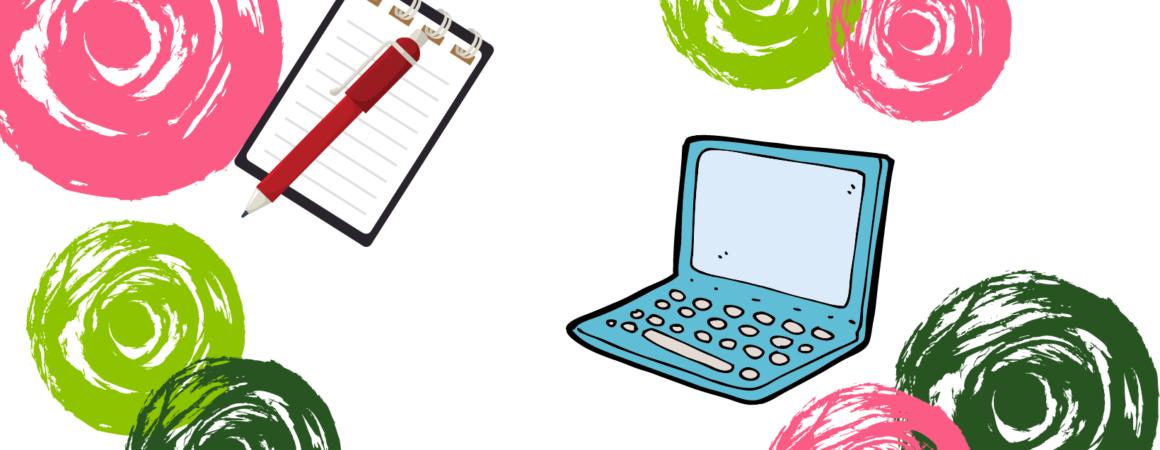 Eri värisiä, piirettyjä ympyröitä ja kuva tietokoneesta ja muistilehtiöstä